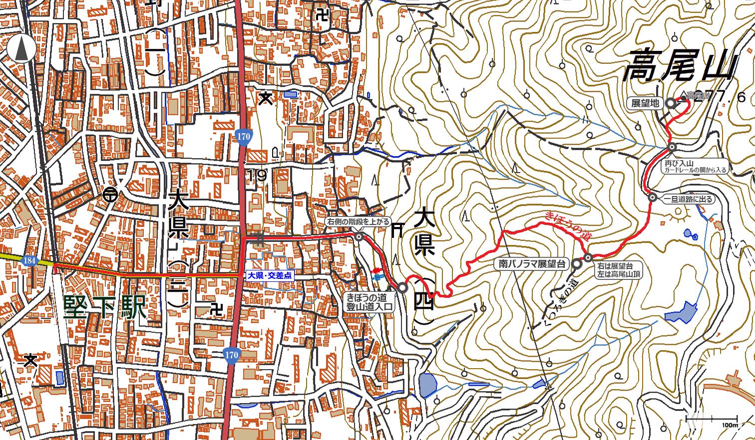 柏原・高尾山地図