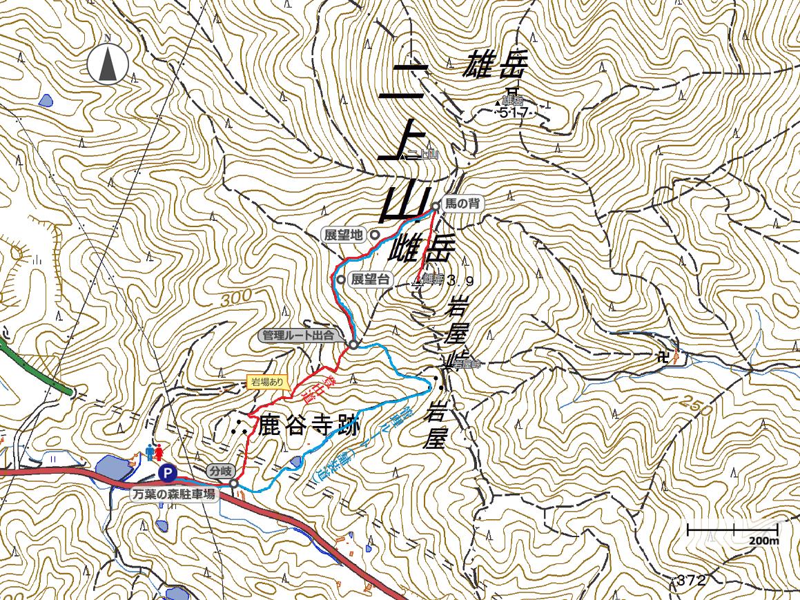 二上山(桜景色)地図