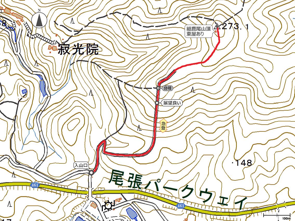 継鹿尾山地図
